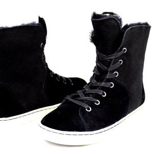 UGG Croft Luxe Black Soft Suede High-Top Lace-UP
